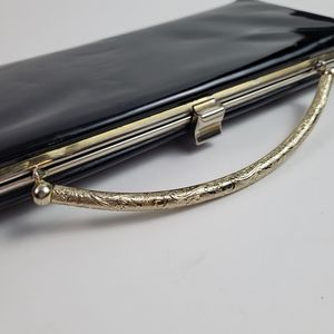 Vintage black patent leather clutch handbag